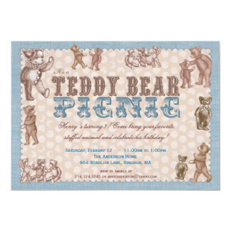 Vintage Style Teddy Bear Picnic Invitation - Blue
