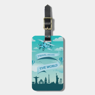Vintage Style Travel Around the World Luggage Tags
