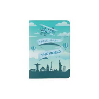 Vintage Style Travel Around the World Passport Holder