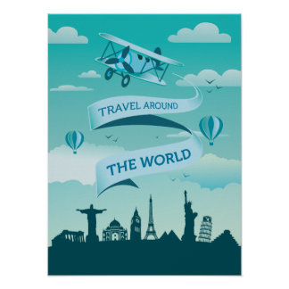 Vintage Style Travel Around the World Poster