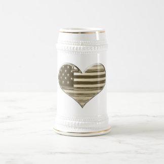 Vintage Style USA Heart Flag Art Beer Stein
