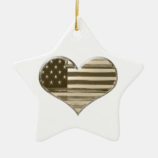 Vintage Style USA Heart Flag Art Christmas Ornament