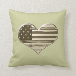 Vintage Style USA Heart Flag Pillow