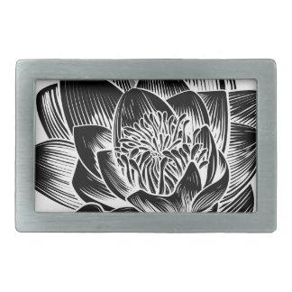 Vintage Style Water Lily Lotus Flower Belt Buckle