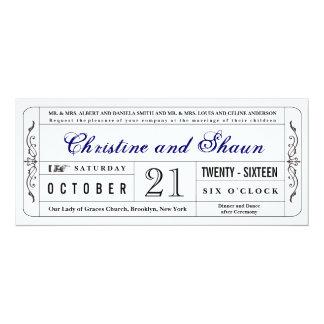 Vintage Style Wedding Ticket Invitation in Blue