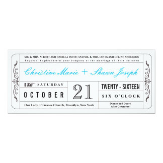 Vintage Style Wedding Ticket Invitation in Blue