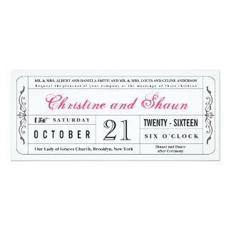 Vintage Style Wedding Ticket Invitation in Pink