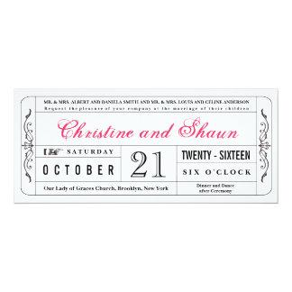 Vintage Style Wedding Ticket Invitation in Pink
