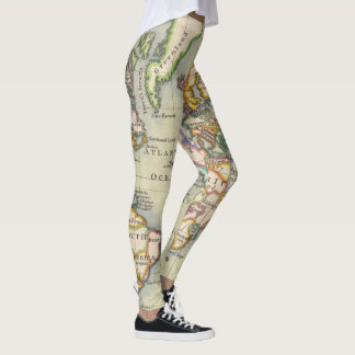 Vintage Style World Map Adventure Leggings