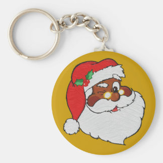 Vintage Styled Black Santa Image Basic Round Button Key Ring