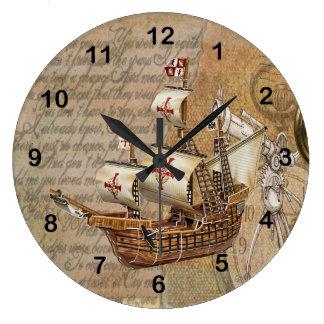 Vintage Stylish Ship Design Wall Clock