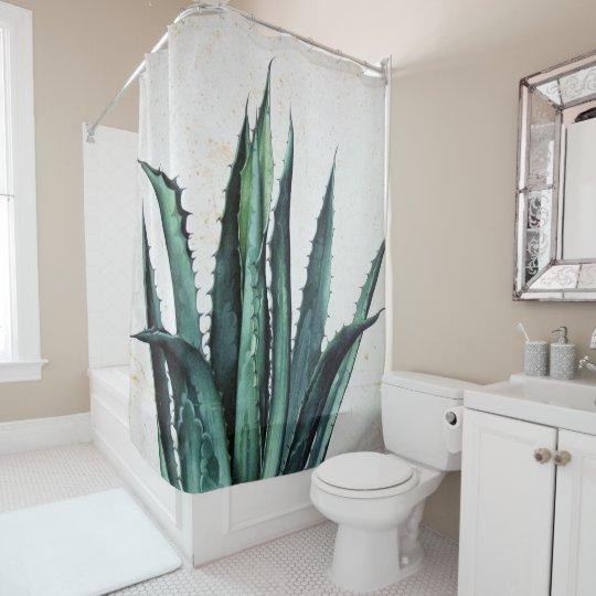 Vintage succulent boho agave aloe cactus desert shower curtain