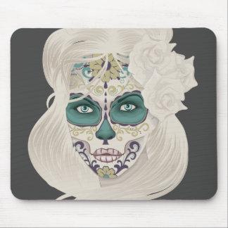 Vintage sugar skull girl with roses v4 mouse mat