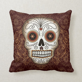 Vintage Sugar Skull Pillow