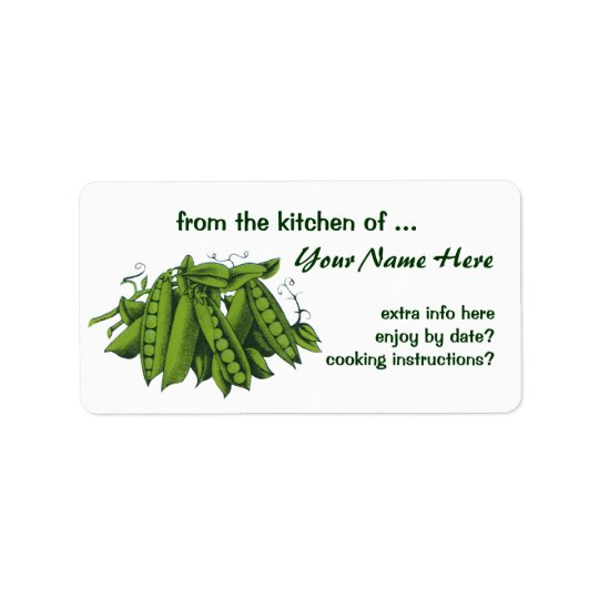 Vintage Sugar Snap Peas, Foods, Healthy Vegetables Address Label