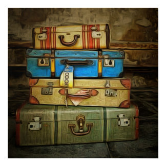 Vintage suitcases poster
