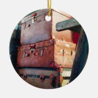 Vintage Suitcases Round Ceramic Decoration