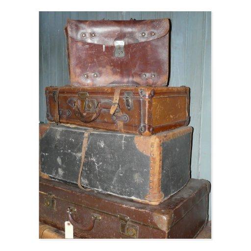 Vintage Suitcases - Stacks of Luggage Postcard