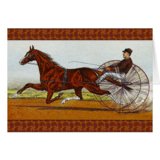 Vintage Sulky Horse Racing Note Card