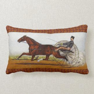 Vintage Sulky Horse Racing Lumbar Pillow