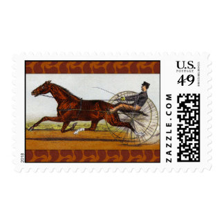 Vintage Sulky Horse Racing Postage Stamps