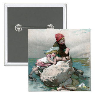 Vintage Summer at the Shore 15 Cm Square Badge