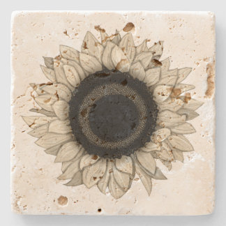 Vintage Summer Bloom Khaki Sunflower Stone Coaster