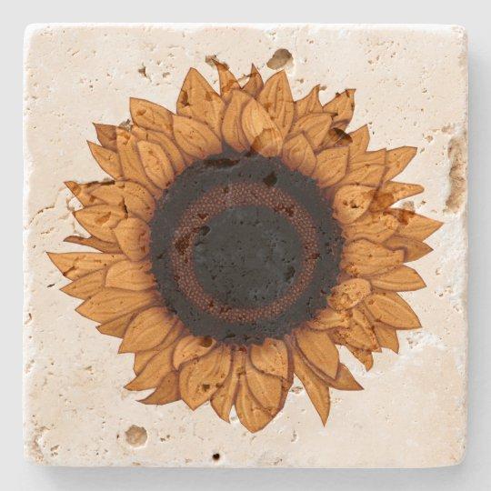 Vintage Summer Bloom Realistic Orange Sunflower Stone Coaster