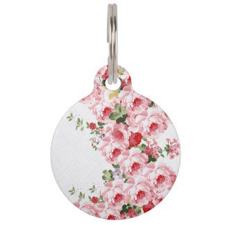 Vintage summer pink red flowers pattern pet name tag