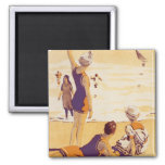 Vintage Summertime at the Beach Magnets