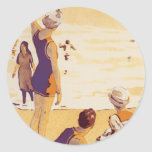 Vintage Summertime at the Beach Classic Round Sticker