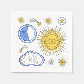Vintage Sun and Moon Paper Napkin