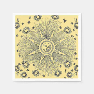 Vintage sun and stars celestial medieval sky drawi disposable napkins