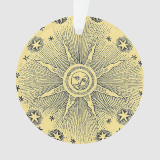 Vintage sun and stars celestial medieval sky drawi ornament