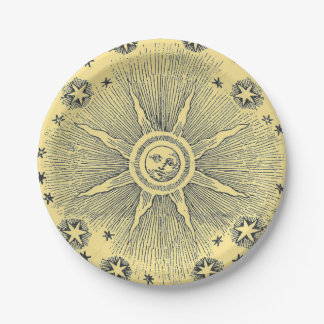 Vintage sun and stars celestial medieval sky drawi paper plate