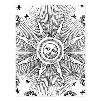 Vintage sun and stars celestial medieval sky drawi postcards