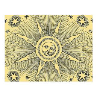 Vintage sun and stars celestial medieval sky drawi post cards