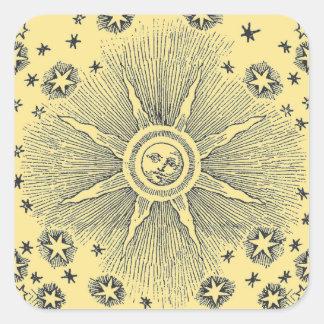 Vintage sun and stars celestial medieval sky drawi square sticker