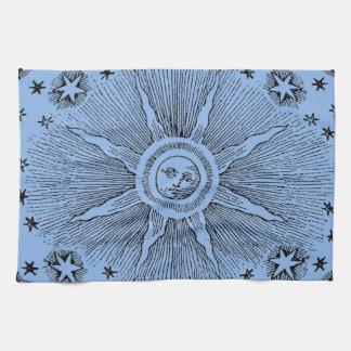 Vintage sun and stars celestial medieval sky drawi tea towel