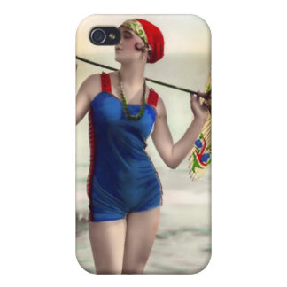 Vintage Sun Bather Beach Babe 4  Cases For iPhone 4