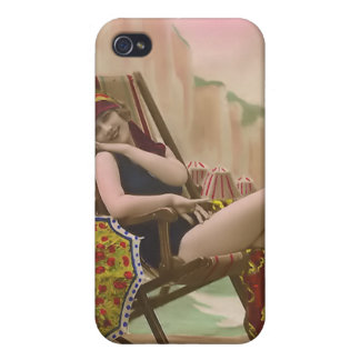Vintage Sun Bather Beach Babe 4  iPhone 4 Cover