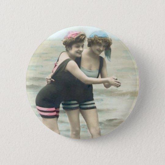 Vintage Sun Bathers Beach Round Button