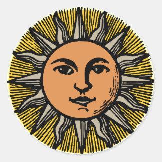 Vintage sun face round sticker