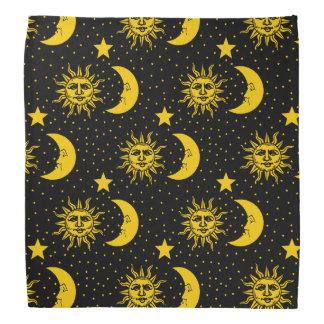 Vintage Sun Moon Stars Pattern Bandana