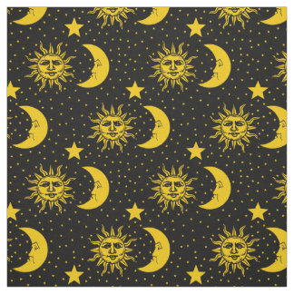 Stars pattern fabric for sewing quilting crafts for Sun moon fabric