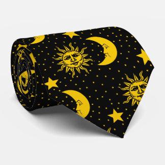 Vintage Sun Moon Stars Pattern Tie