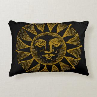 vintage sun on black decorative cushion