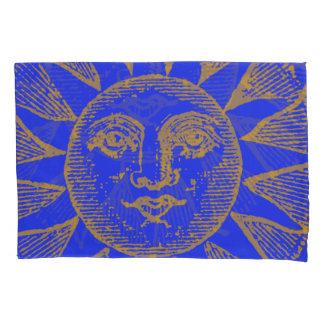 vintage sun on blue pillowcase