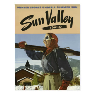 Vintage Sun Valley Idaho Ski Resort Travel Postcard