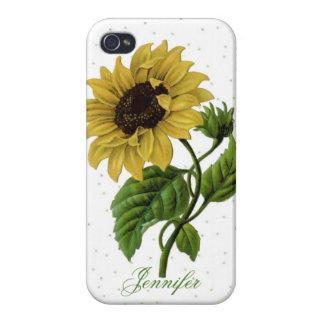 Vintage Sunflower & custom Name Case For iPhone 4
